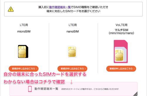 UQモバイル申し込み画像 SIM選択画像